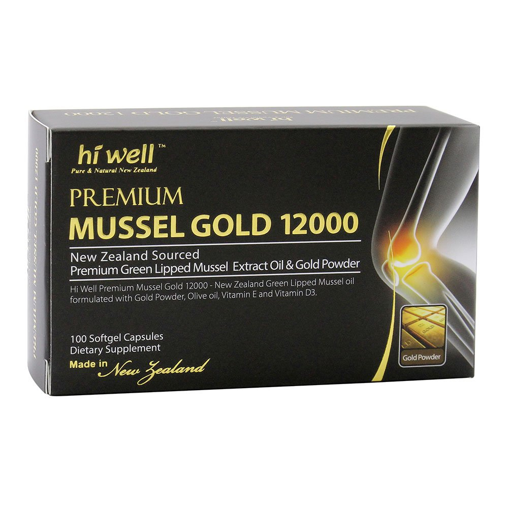 Hi Well Mussel Gold 12000mg 100 Capsules New Zealand Green Lipped Mussel Extract Oil & Gold Powder, Vitamin E and Vitamin D3 Joint Health Support & Mobility