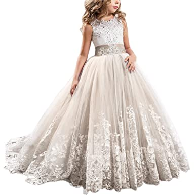 2d5683c7758bb Flower Girls Lace Beads First Communion Dress Princess Wedding Bridesmaid  Pageant Party Floor Length Tulle Ball Gown