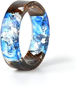 Wood and Ring Smoked with Blue Color with golden touches