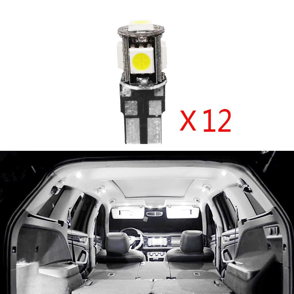 Cobear para 508 Super Brillante Fuente de luz LED Interior Lámpara de Coche Bombillas de Repuesto Blanco Paquete de 12: Amazon.es: Coche y moto