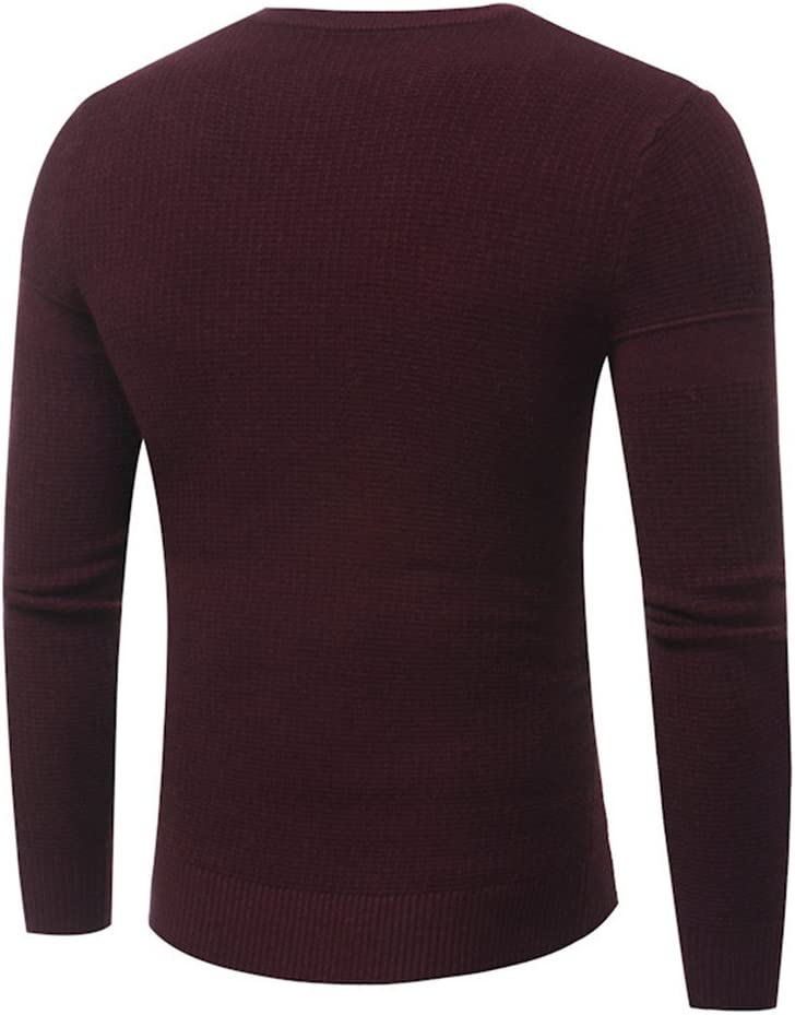 YanCui@ Mens Daily Casual Autumn Winter Letter Offset Printing Round Neck Knitted Sweater