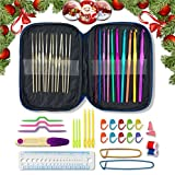 22 Aluminium Crochet Hooks with Case. Multicolor, Smooth Needles for Superior Results & 26 Knitting Accessories