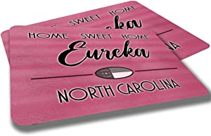 Eureka North Carolina Home Sweet Home Towns Cities Provinces Door Mat Red Souvenir Gift Design Rubber Grip Non Skid Backing Rug Indoor Entryway Door Rugs Mats Pack of 2