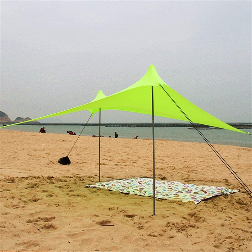 インスタントカバナキャノピーサンウォールファミリービーチテントサンシェードサンシェードUPF50紫外線保護テント付き2軽量折りたたみ式スチールポール4サンドバッグアンカー大型ポータブルレインキャンプタープシェルター用夏休み3-4人緑色 (色 : 緑, サイズ : 210*210*165cm) 緑 210*210*165cm