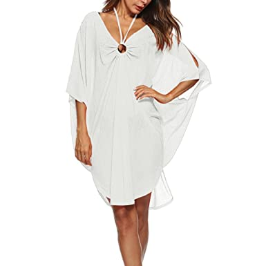 21c7d343d0 Brezeh Women Beach Cover up, Womens Loose Beachwear Swimwear Bikini Cover-up  V-Neck Plus Size Bohemian Chiffon Summer Beach Dress (Free Size, ...