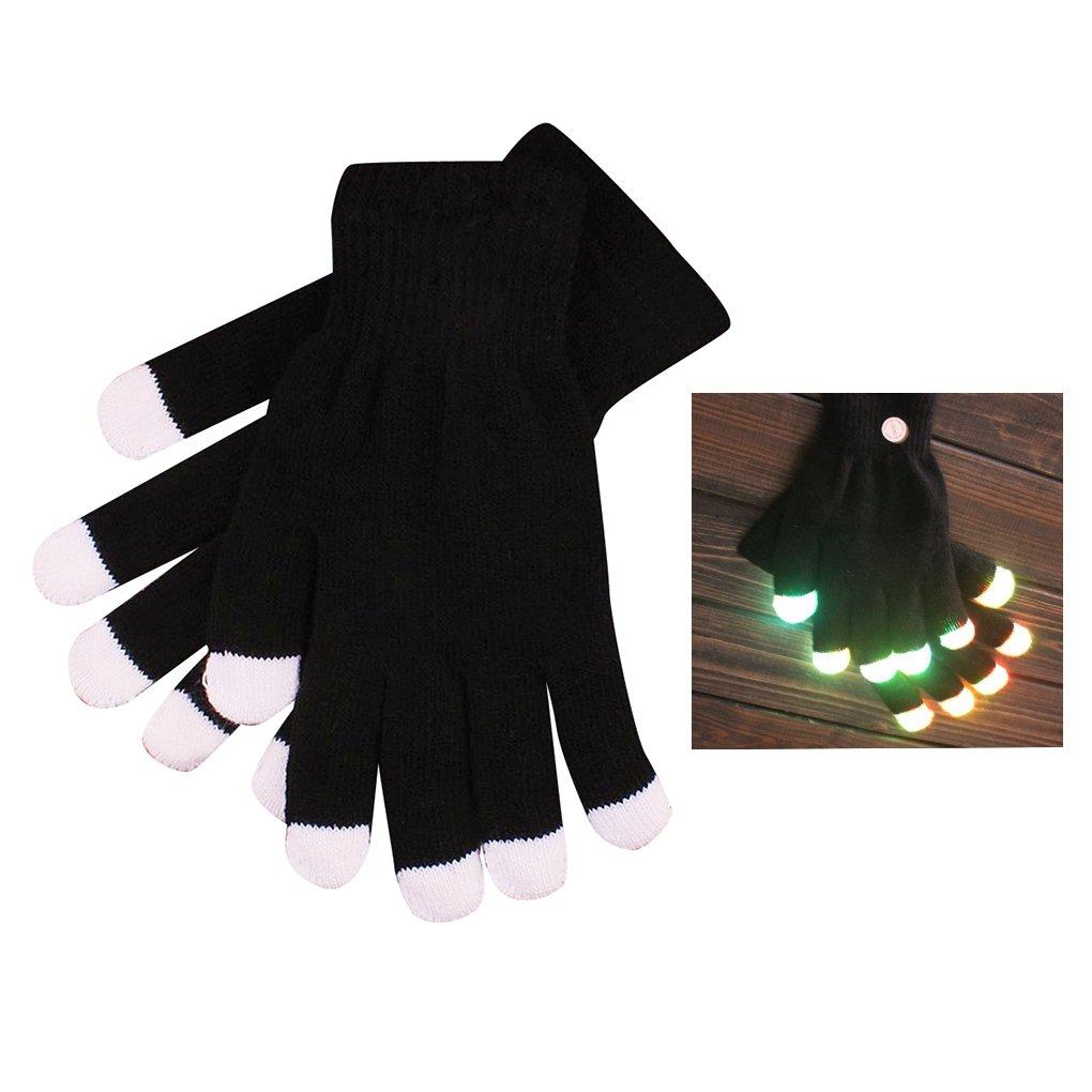 Elenxs 1 Pair LED Flashing Gloves Finger Light Gloves with Colorful Rave