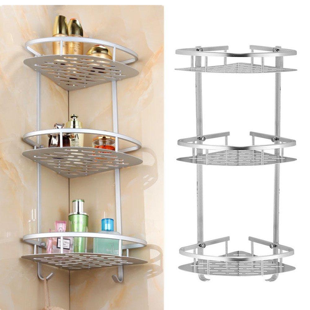Yosoo 3-Tier Shampoo Basket Shower Shelf Bathroom Corner Shower Rack Storage Holder Hanger for Towels, Soap, Lotion