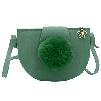 e2c245df714d Amazon.com  Low Price Promotion-Cute Pompom Pendant Faux Leather Semi  Circle Girl Mini Crossbody Shoulder Bag