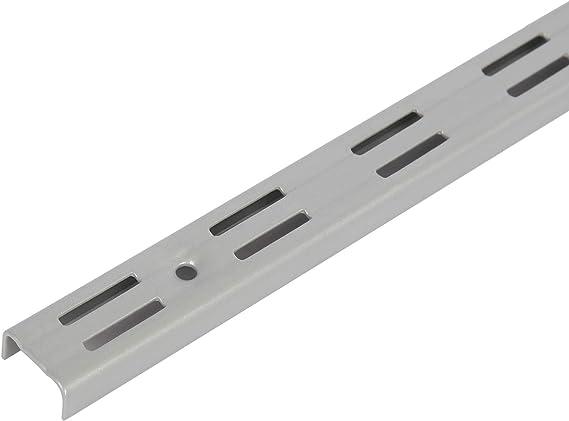 Toolerando Perfil cremallera perforación doble para escuadras de estante/Riel de pared para soportes de estantes, 2 ranuras - Longitud: 50 cm, ...