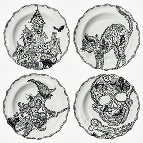 222 Fifth Halloween Wiccan Lace Salad Plates Set of 4 -