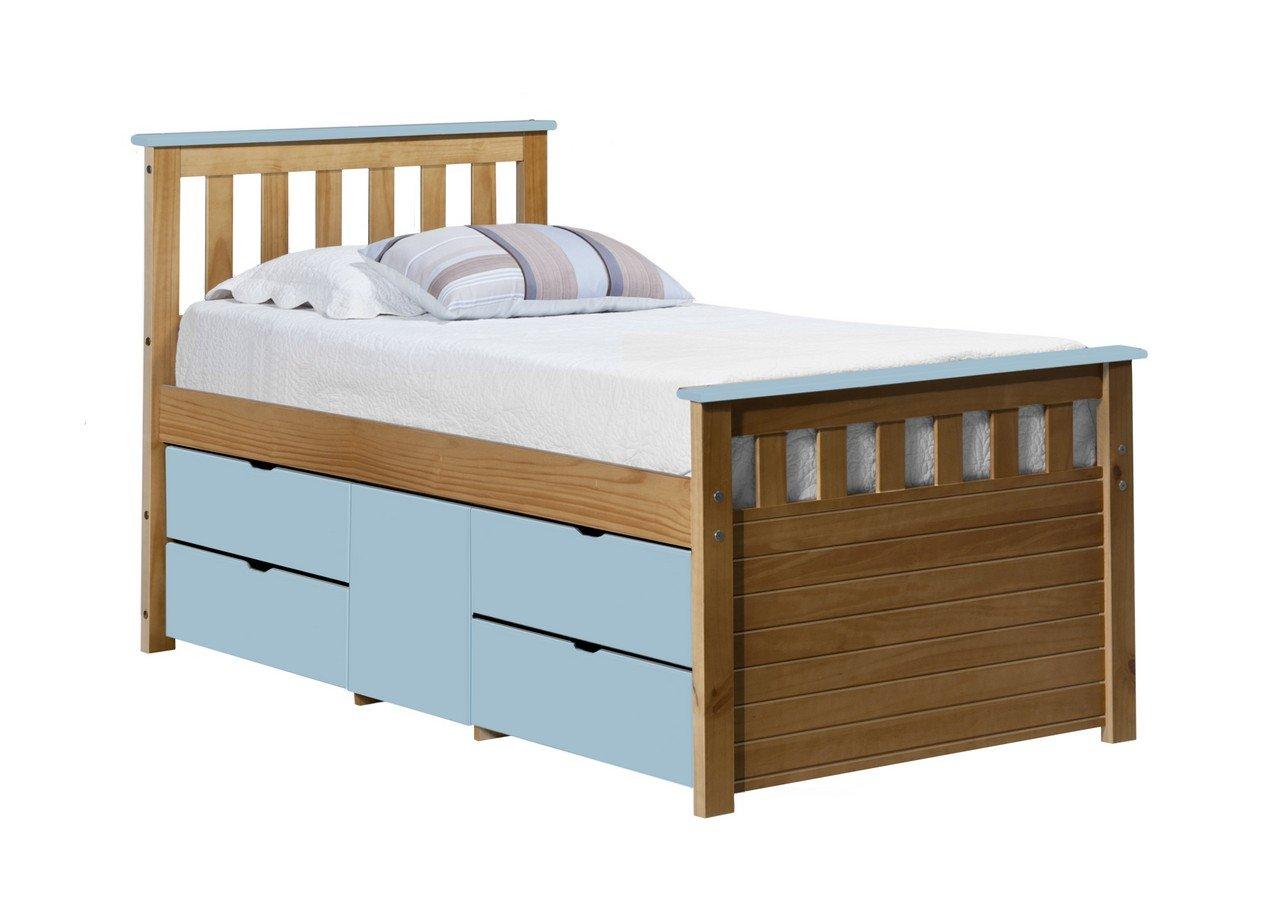 Design Vicenza Captains Ferrara Aufbewahrung Bett lang 3Ft Antik mit Baby blau Details