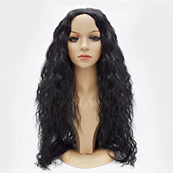 Jollyvogue 24 quot  Natural Black African American Curly Hair None Lace  Glueless Synthetic Wig with Natural 2916dce2bd