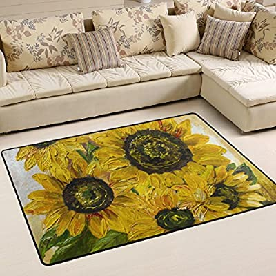 WOOR Sunflower Oil Painting1 Living Area Rugs for Living Room Bedroom Dining Office 6 x 4 Feet Modern Floor Mat Home Decor