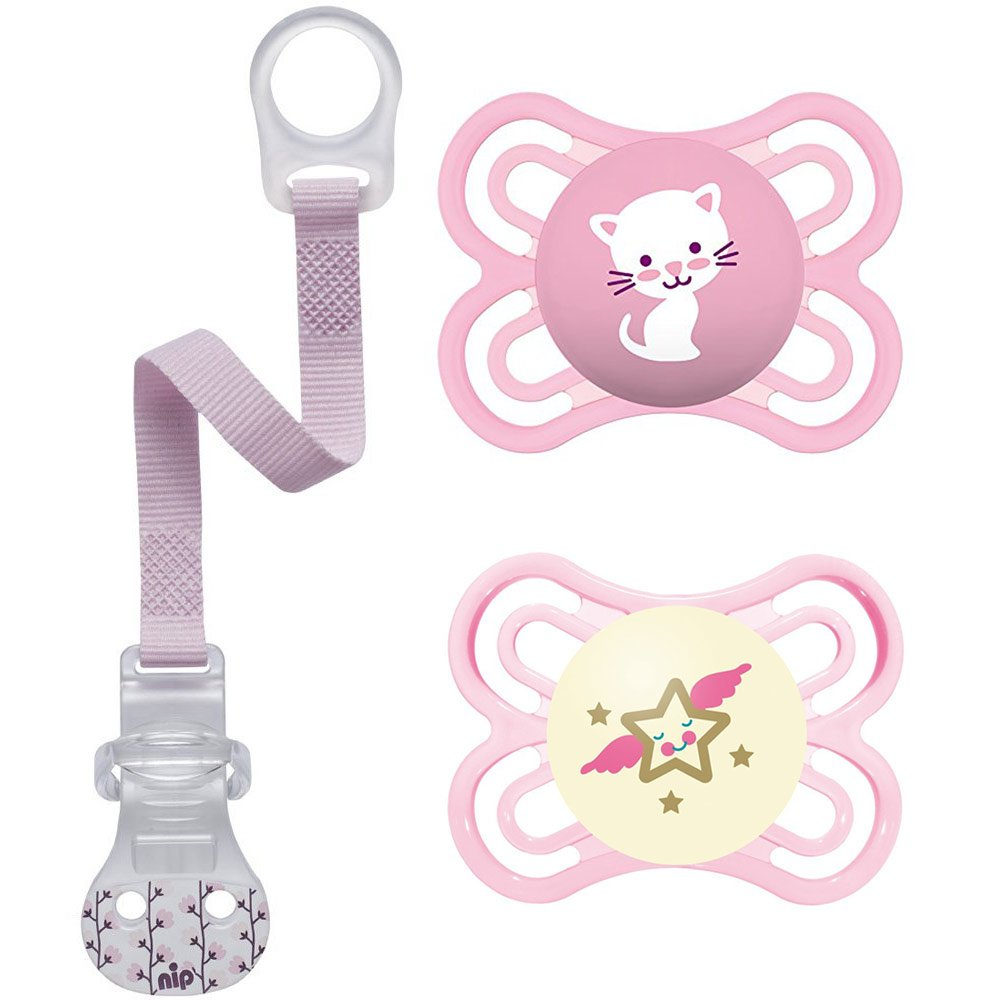 'MAM Skin Soft Tétine en silicone ultra fin Perfect Day & Night////0–6 Mo. Girl//Lot de 2//+ 2 Ster ilisi Ertra Port Box & Nip Pacifier
