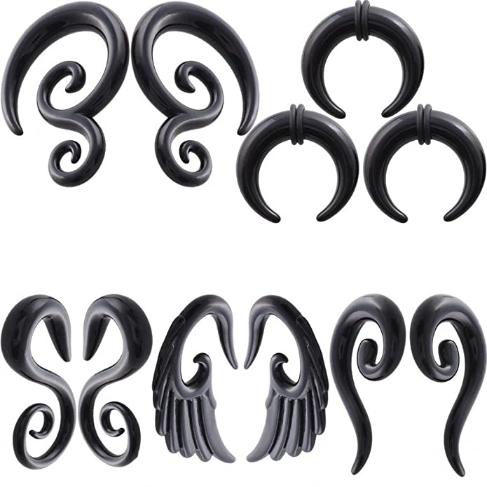 IPINK 5 Pairs Acrylic Spiral Snail Taper Plugs Tunnel Ear Stretcher Expander Kit Plugs 14-00 Gauges