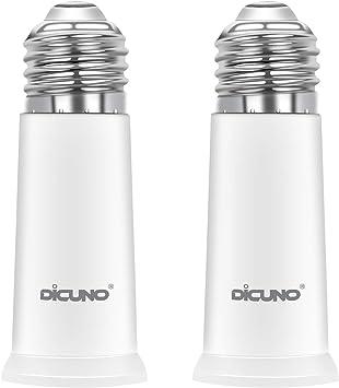 DiCUNO E26 Socket Extender, E26 to E26 Standard Medium Base, 6.5CM/2.56 Inch Extension Socket Adapter, Max 200W Light Bulb Extender 2 Pcs