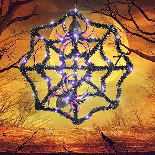 Spider Web Lights (Twinkle Star Halloween Spider Web with 31 LED Waterproof Purple Lights and 2 Black Spider, Indoor Outdoor House Yard Garden Scary Halloween)