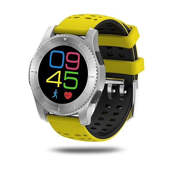Pulsera Inteligente, Malloom GS8 Impermeable GPS Smart Watch presión Arterial Ritmo cardíaco Reloj para Android y iOS (Amarillo)