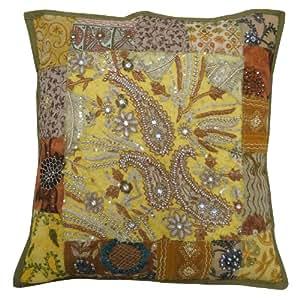 Amortiguador amarillo cubierta Sofá Sofá 48X48cm Patchwork Square Funda de almohada Decoración del hogar del arte de la India 19 pulgadas