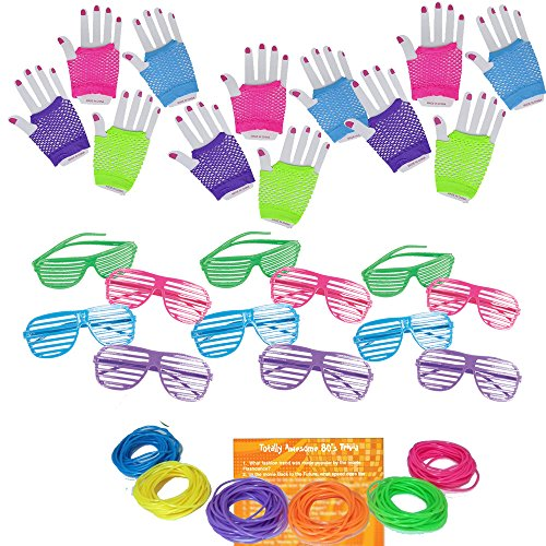 Multiple 80s Rock Star or Pop Dress-Up Set for 12 - 12 Pairs Fingerless Fishnet Wrist Gloves, 12 Sunglasses, 144 Neon Gel Bracelets and 80s Trivia ()