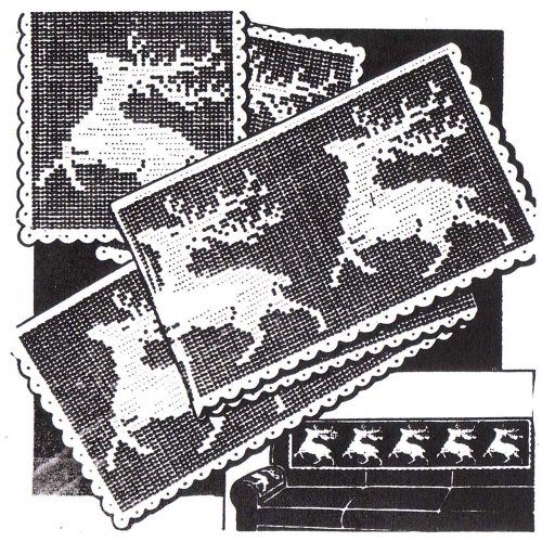 Reindeer Davenport Set Filet Crochet Pattern