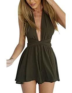 842b2173f8b8 Oberora-Women Sexy Sleeveless Backless Lace Up Club Shorts Rompers Jumpsuits