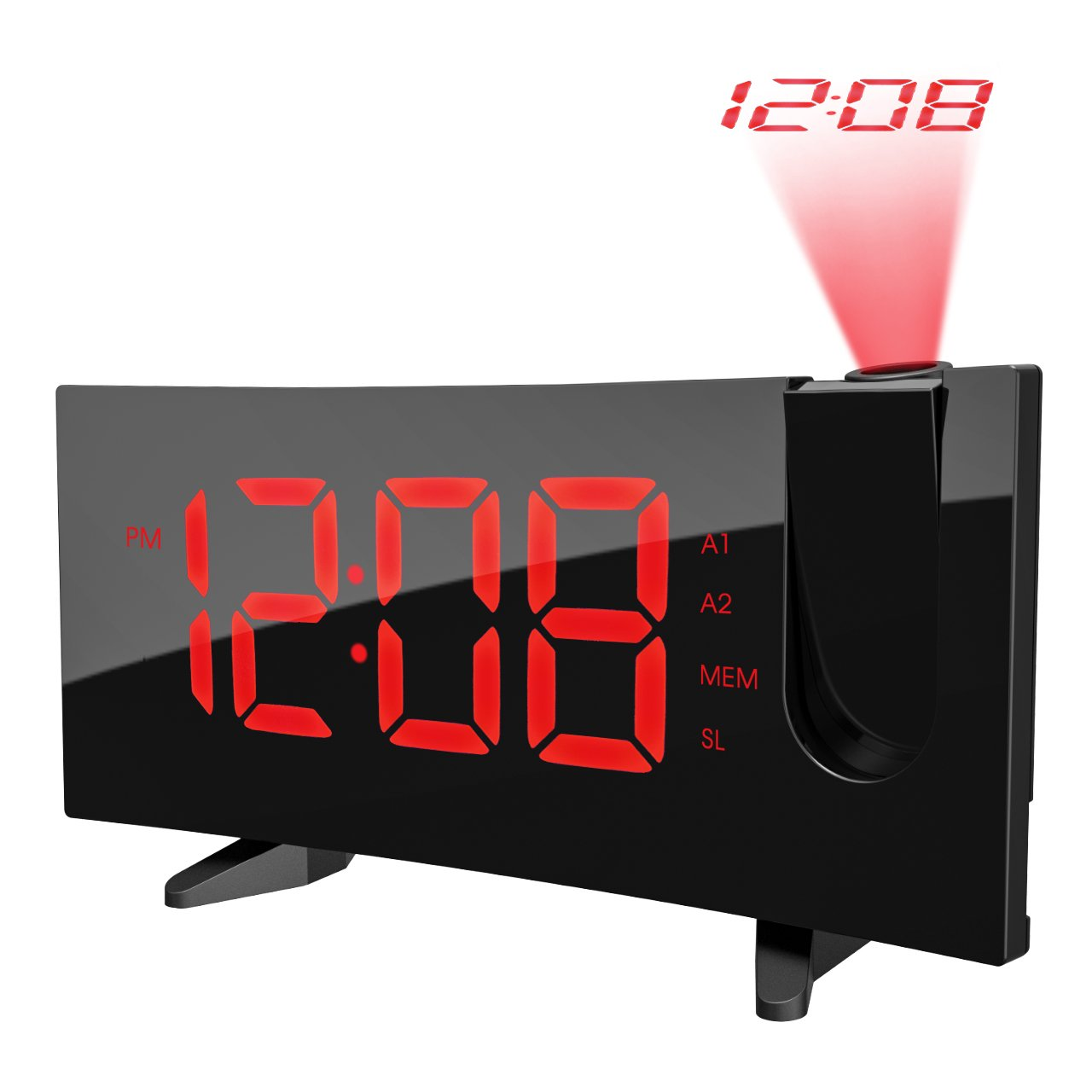 PICTEK Projection Alarm Clock, 5'' Curved LED Display with Dimmer, Adjustable Ceiling Sleep Timer for Kids Bedrooms, FM Radio, 12/24 Hour, Snooze, Power Adapter Black and Red by PICTEK