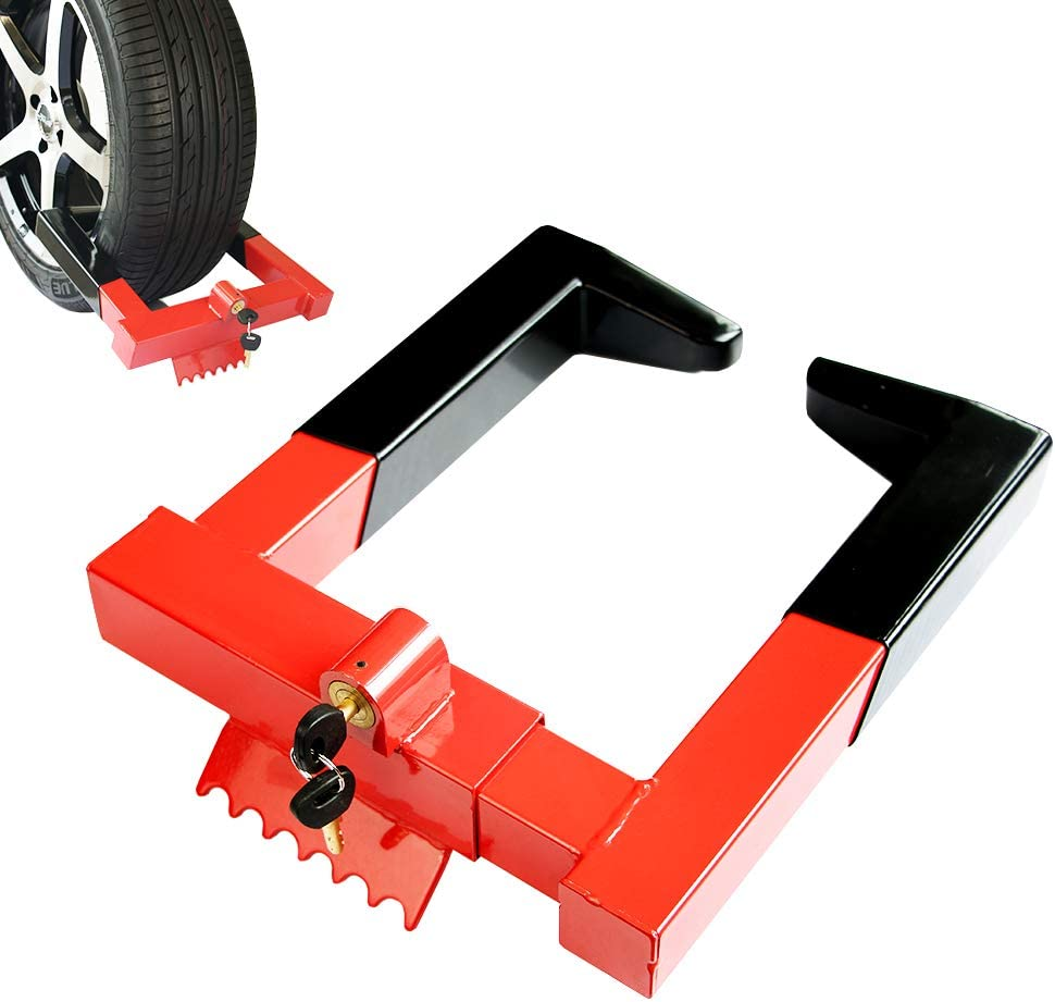 OKLEAD Anti Theft Trailer Wheel Lock Clamp Security Tire Claw Boot for Golf Cart Motorcycle Trailers ATV Max 12 Inch Width Tire with 2 Keys