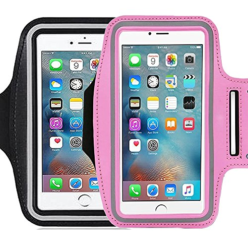 2Pack Sports Armband Pouch ibarbe,for Running Jogging Exercise Gym Biking Walking and Other Workouts Fit Cards Holder For iPhone 7/ 6/6S plus , iPhone 5/5C/5S Samsung Galaxy Note 4/3 S6/S5 ()