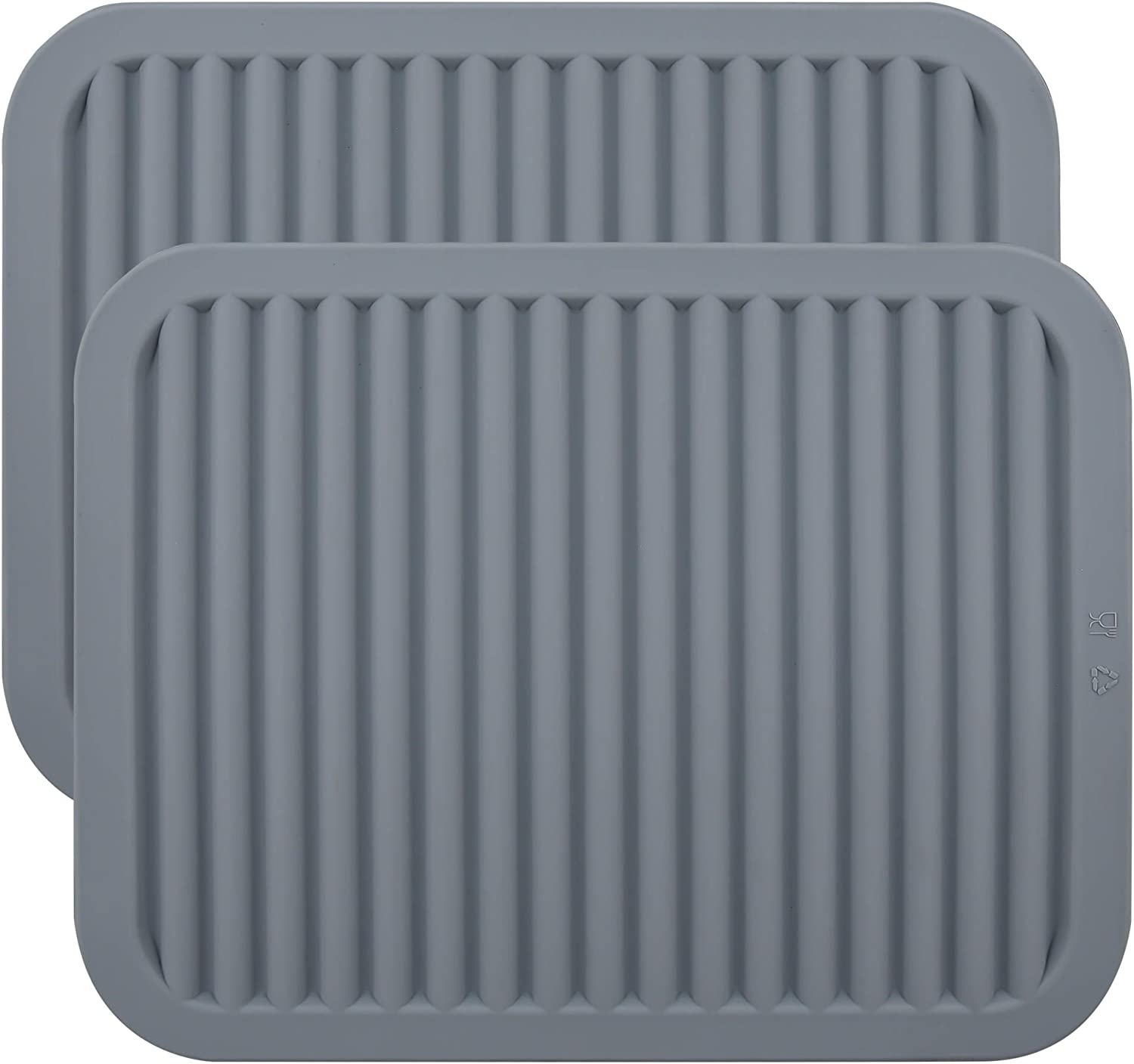 Smithcraft Silicone trivet Mat for Hot Pan and Pot Hot Pads Counter Mat Heat Resistant Table Dish Drying Mat or Placemats 2 Pack,Size:9x12 Inch, Shape:Rectangular Color Grey