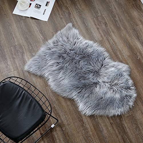 OJIA Deluxe Soft Faux Sheepskin Chair Cover Seat Pad Plain Shaggy Area Rug