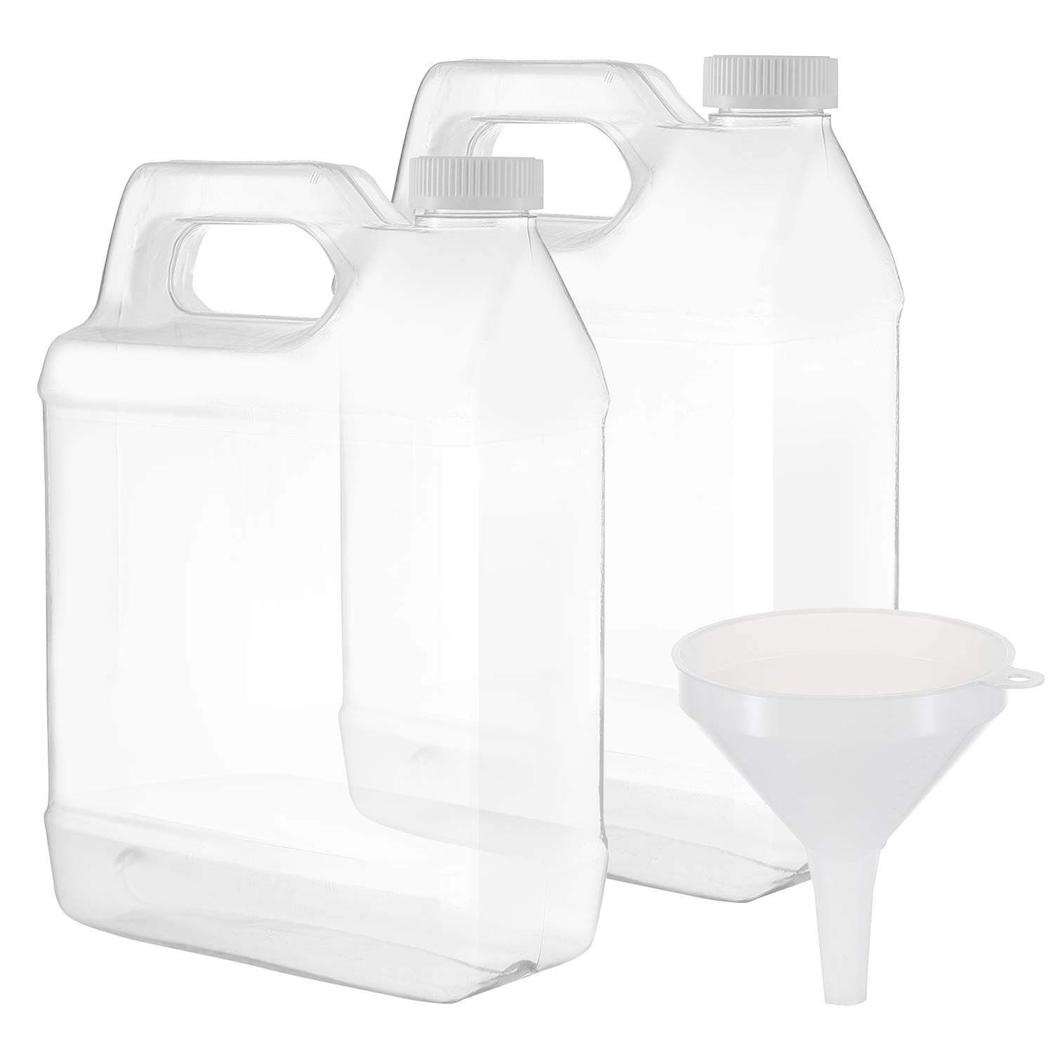 2 Pack - Plastic 1 Gallon Jug - Gallon Water Bottle - Clear Large Empty Gallon Jug F-Style with Child Resistant Airtight Lids - 128 oz Jugs with Caps and Funnel - for Commercial & Industrial Use by DilaBee