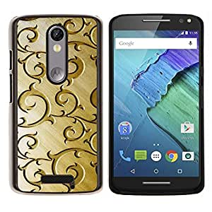Cubierta protectora del caso de Shell Plástico || Motorola Moto X ( 3rd Generation ) || Oro Modelo de madera floral de Brown @XPTECH