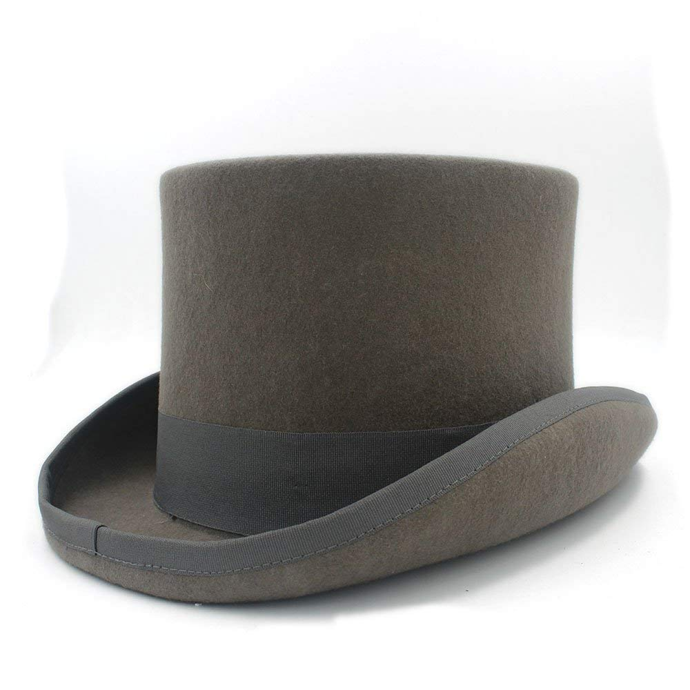 Goodscene Fashion Unisex Winter Hat Gray Wool Women Men Fedora Top Hat for Magician Steampunk Mad Hatter Uncle Sam Beaver Party Wedding Hat