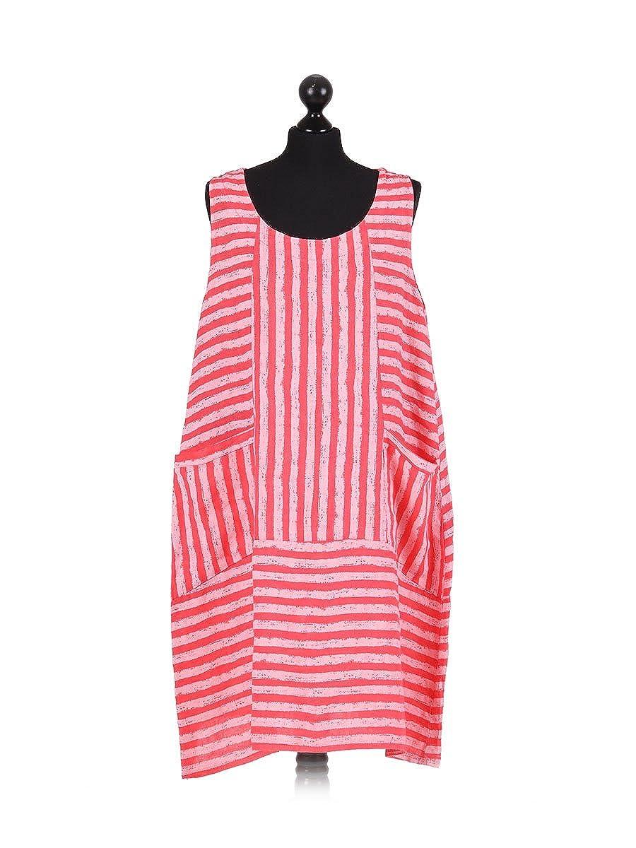 9d82f396914 New Ladies Italian Stripy Linen Sleeveless Dress Women Lagenlook Dress Plus  Size (coral)  Amazon.co.uk  Clothing