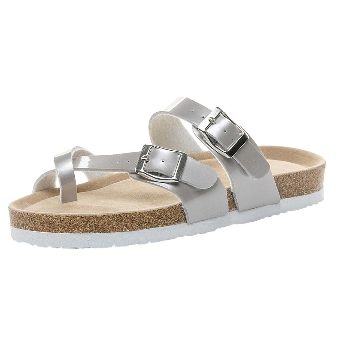 HOT Sale,AIMTOPPY Womens Cross Toe Strap Flat Sandals beach shoes Thick-soled Cork Slippers (US:8.5, Silver)