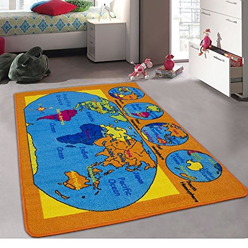 Champion Rugs Kids / Daycare / Classroom / Playroom Area Rug. World Map. Continents. Oceans. Hemispheres. Compass. Educational. Non-Slip Back. Bright Colorful Vibrant Colors (5 Feet X 7 Feet) ()