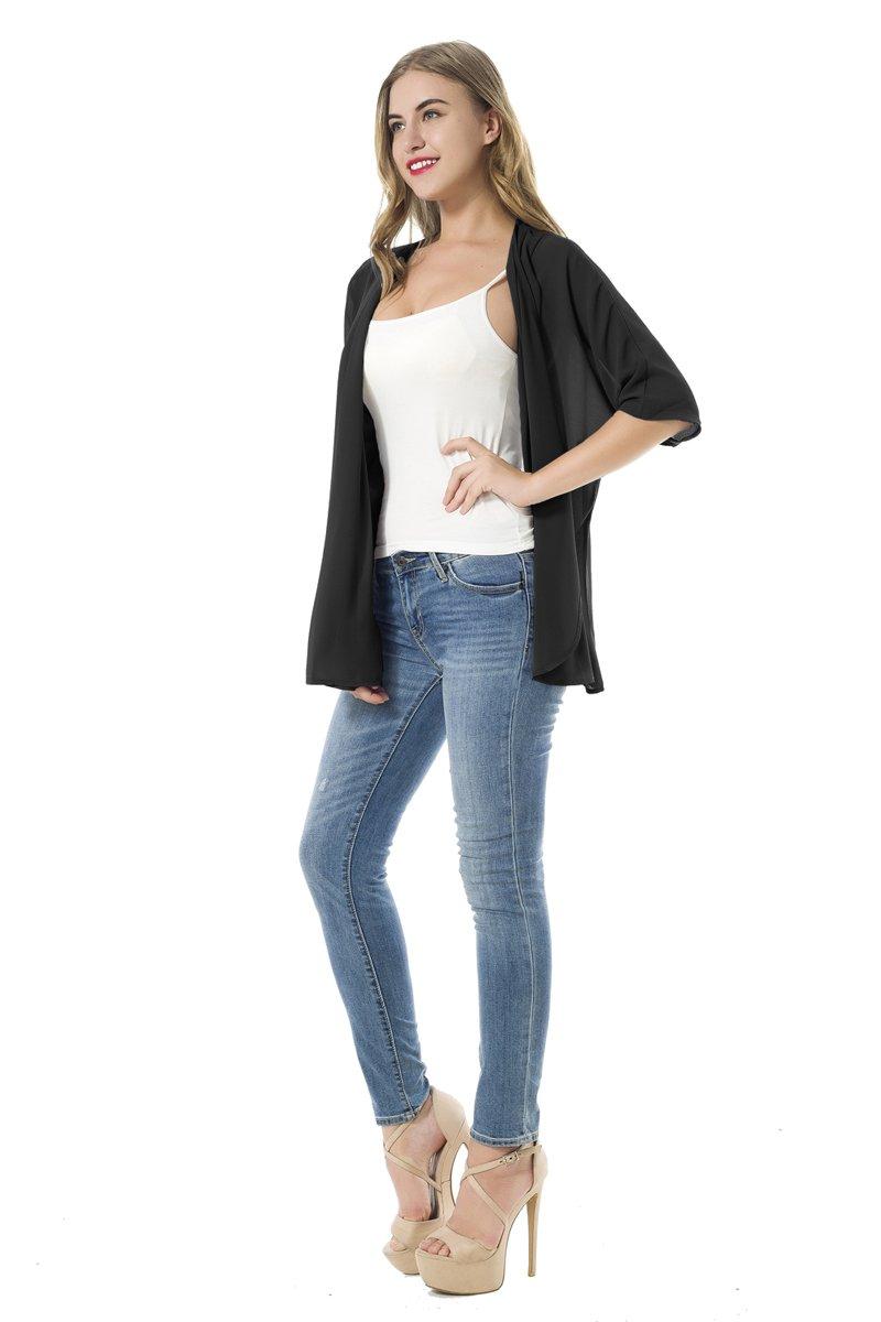 NB Women's Beachwear Sheer Chiffon Kimono Cardigan Solid Casual Capes Beach Cover up (XL, Black) by NB (Image #7)
