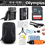 64GB Accessories Kit For Olympus TOUGH TG-5, TG-3, TG-4 Waterproof Digital Camera Includes 64GB High Speed SD Card + Replacement LI-90B, LI-92B Battery + Ac/Dc Charger + FLOAT STRAP + Case + More