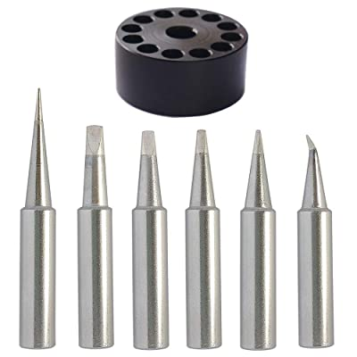 ShineNow Quality T18 Soldering Tip Set 6pcs Replacement for Hakko FX-888D FX-888 FX8801 FX-600 T18 with A Tip Holder (6pcs with a tip holder)