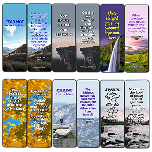 Powerful Bible Verses Bookmarks - God is in Control (12 Pack) - Collection of Inspiring and Motivational Bible Verses (With All My Heart Soul Mind And Strength)