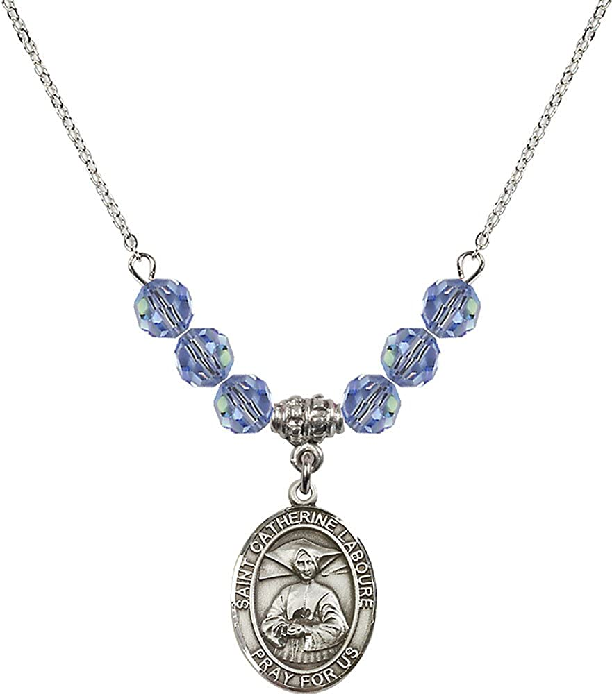 18-Inch Rhodium Plated Necklace with 6mm Light Sapphire Birthstone Beads and Sterling Silver Saint Catherine Laboure Charm.