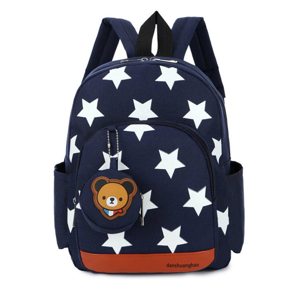 LmeiKK Kindergarten Cartoon little stars Backpack Oxford cloth Snacks Storage bags (Navy blue)