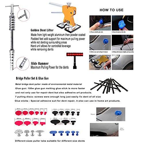 WHDZ Paintless Dent Repair Tools Kit, Tool Kit for Hail Damage Removal - 21pcs Paintless Dent Rods Dent Puller Slide Hammer Dent Lifter Glue Gun Tap Down Light Reflect Board Auto Dent Repair Kit by WHDZ (Image #3)