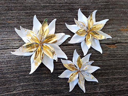 White and Gold Set Of 3 Paper Layered Rhinestone Bling Flower Wedding Decoration Favor Card Making from Bella Supply Boutique