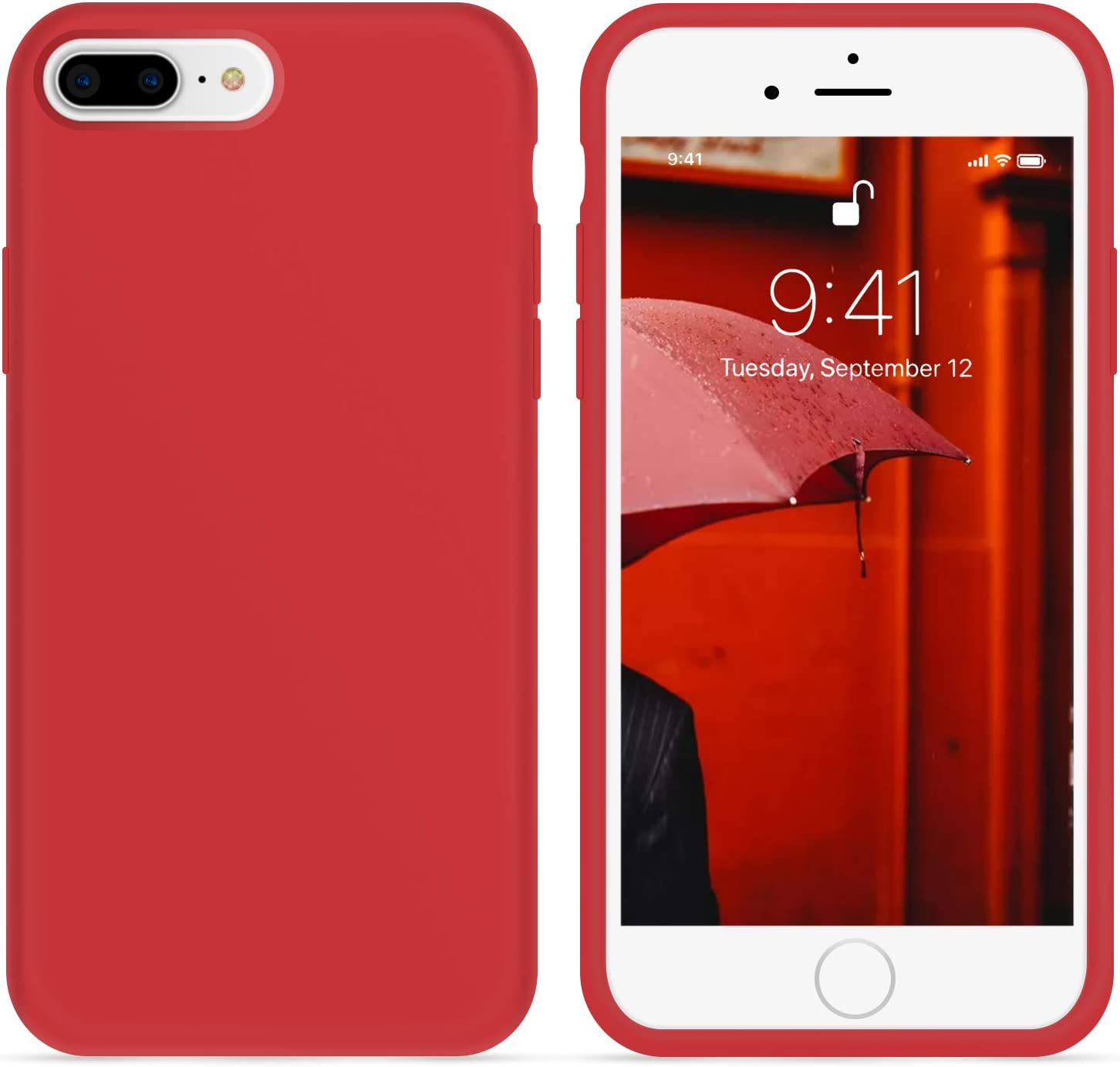 OTOFLY iPhone 8 Plus Case,iPhone 7 Plus Case,[Silky and Soft Touch Series] Premium Soft Silicone Rubber Full-Body Protective Bumper Case Compatible with iPhone 7/8 Plus (Red)