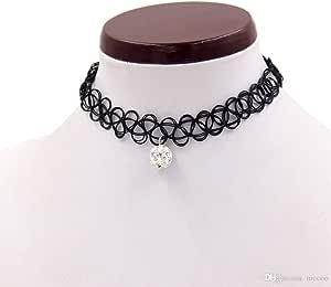 Fashion Vintage Elastic Tattoo pearl Necklace Black choker
