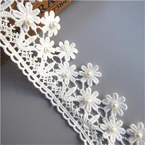 3 Yds Vintage Beads Lace Edge Trim Gift Ribbon Wedding Applique Sewing Craft DIY