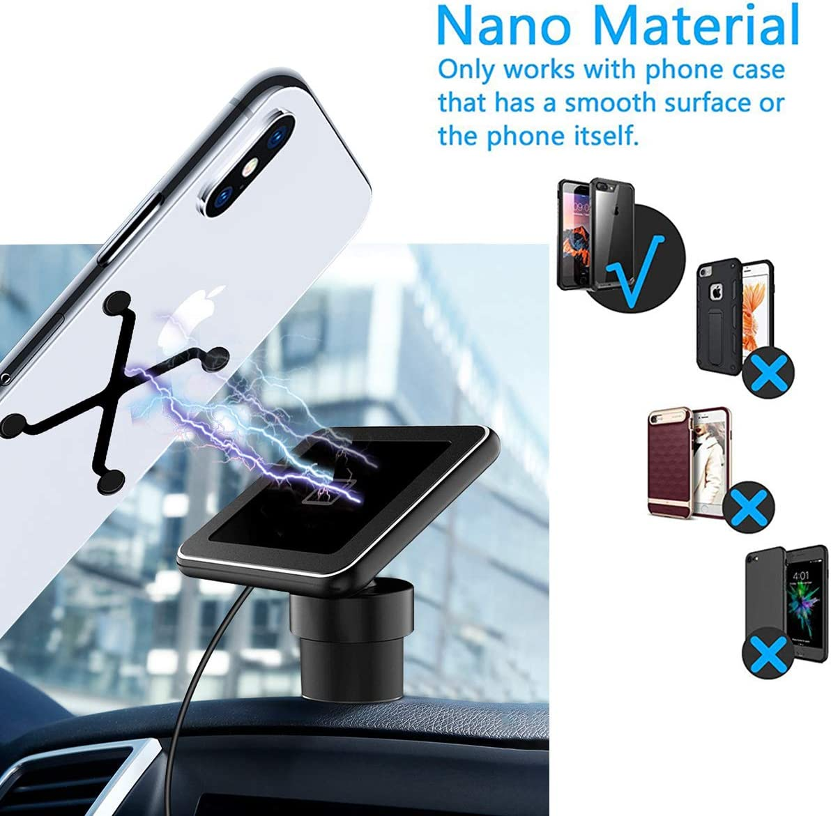 //Xs Max//XR//8 Samsung Note 8//9 S10//S9//S8 All Qi-Device 10W Qi Car Phone Mount for iPhone 11 Pro Magnetic Qi Wireless Car Charger Nano Magnetic Qi Car Charger for Air Vent//Table Max Magnetic Plate