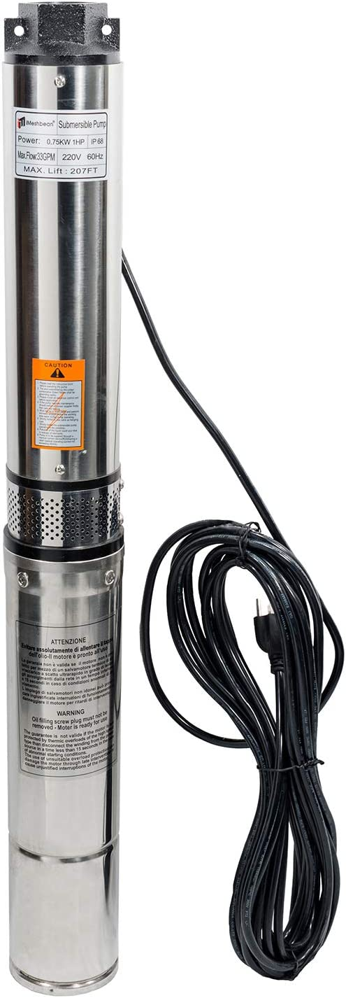 """iMeshbean Deep Well Submersible Pump,4"""" 1 hp, 230V, 60 Hz, 33 GPM, 207' Head, 33' Power Cord, Stainless Steel, Built in Control Box, Long Life"""